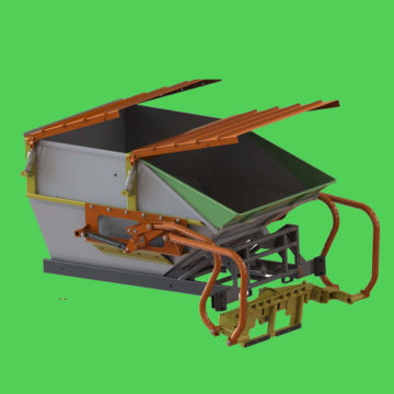This singular Satellite incorporates a Campo attachment at the back to pick up garbage carts, Two car style and/or Euro style from 80 to 1100 litters.