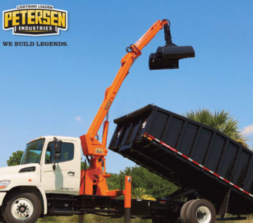 The model TL-3 Lightning Loader® is a grapple loader mounted to a chassis from behind the cab, equipped with Petersen's standard trash bucket ...